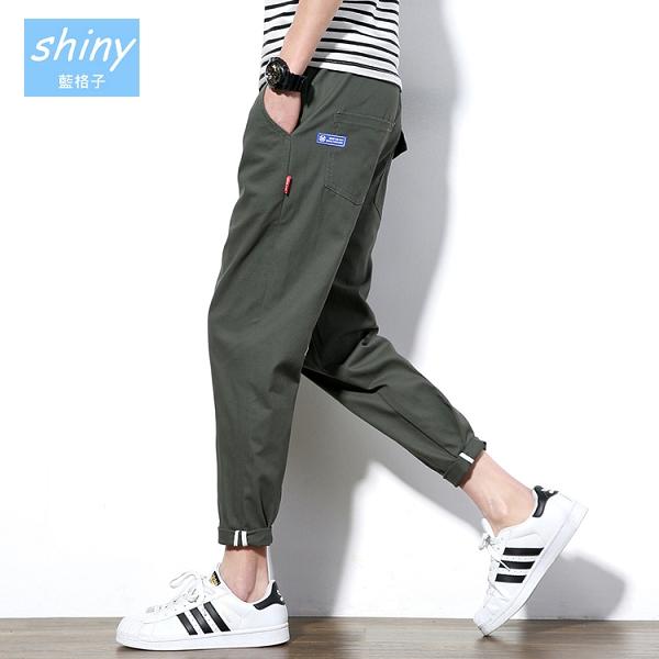 【Y178】shiny藍格子-悠閒感覺.修身寬鬆哈倫九分小腳褲