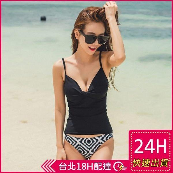 【梨卡泳裝】二件式比基尼(顯瘦+集中)異國經典黑 韓劇女生搭配 集中異國圖騰C530