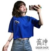 EASON SHOP(GW5156)實拍仙鶴刺繡短版露肚臍圓領短袖T恤女上衣服落肩內搭衫顯瘦閨蜜裝素色純色棉T恤