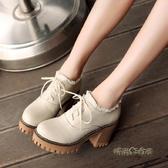 粗跟高跟布洛克鞋春繫帶厚底冬季加絨單鞋大碼41-43英倫風小皮鞋「時尚彩紅屋」