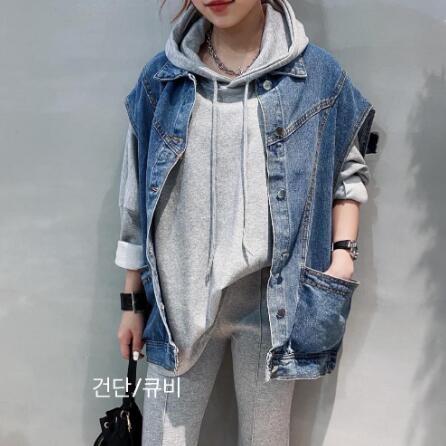 正韓春裝新款百搭造型牛仔背心外套 花漾小姐【預購】