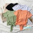 露腰上衣 2020年夏季蝴蝶結短款露臍短袖T恤女短裝鎖骨上衣心機設計感潮ins 4色