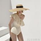 韓國新款純色比基尼性感大荷葉邊遮肚顯瘦保守連體單肩式游泳衣女