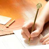 創意仿真復古鑰匙造型黃銅圓珠筆原子筆文具便攜可替換筆芯聖誕狂歡好康八折