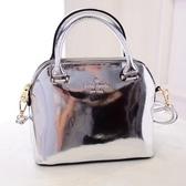 手提包-時尚美觀質感亮面肩背女貝殼包3色72an21【巴黎精品】