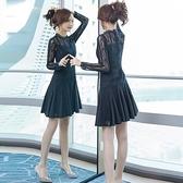 長袖洋裝蕾絲連衣裙長袖年春秋新款洋氣顯瘦百褶打底裙氣質修身早秋款 全館免運