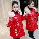 兒童外套亮面免洗女童棉衣中長款女孩加厚棉服冬裝新款童裝棉襖外套 快速出貨