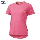 MIZUNO 女裝 短袖 T恤 慢跑 路跑 吸汗快乾 反光燙印 反光織帶 透氣網布 莓粉【運動世界】J2TA120264