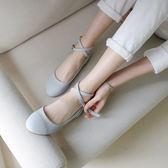 纖夢纖盈娃娃淑女芭蕾平底鞋綁帶鞋女瑪麗珍圓頭淺口清新少女單鞋       伊芙莎