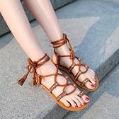 波西米亞涼鞋女民族仙女風2021新款夏度假網紅綁帶平底羅馬沙灘鞋 【端午節特惠】