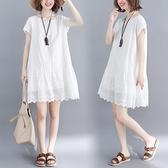 洋裝 中大尺碼 文藝小清新鏤空棉麻短袖連身裙2021夏裝新款寬鬆遮肚顯瘦中長裙子