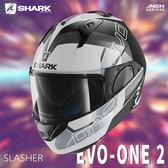 [中壢安信]法國SHARK EVO-ONE 2 彩繪 SLASHER 白黑銀 可樂帽 全罩 可掀式 安全帽 內墨片