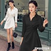 法式小眾收腰洋裝早秋女裝新款流行桔梗裙氣質顯瘦襯衫裙子 時尚