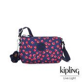 Kipling 古典茜紅小花長形拉鍊側背包-MELY