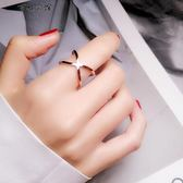 個性戒指女鈦鋼鍍玫瑰金X交叉食指