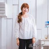 【Tiara Tiara】激安 壓摺紋早午餐長袖縮口純棉上衣(白/米)