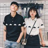 情侶裝polo衫短袖男女黑白色學生日系寬鬆【3C玩家】