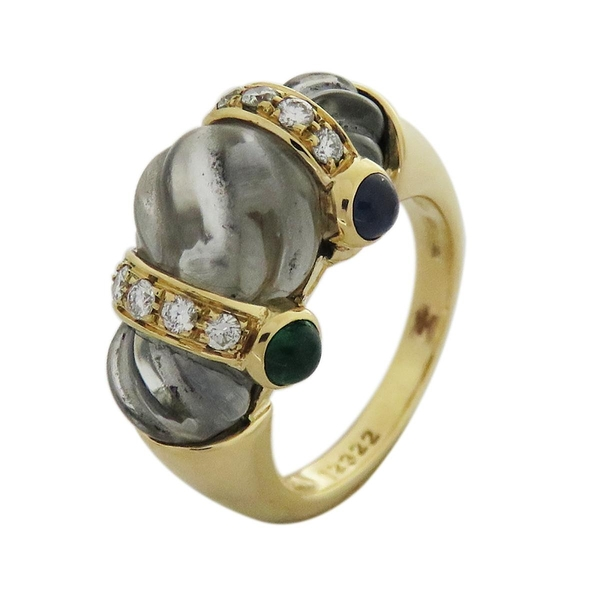 BOUCHERON 18黃K金彩寶戒指 Vintage Dress Ring【二手名牌 BRAND OFF】