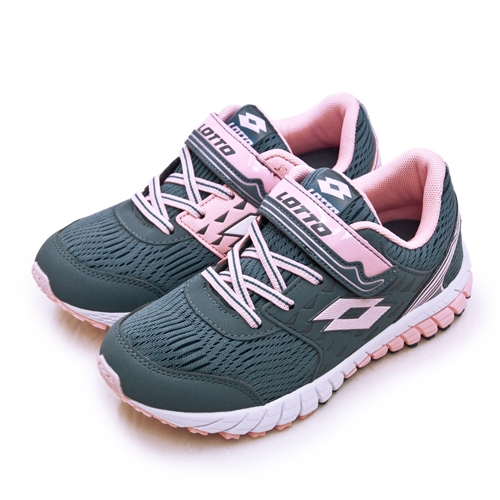 LIKA夢 LOTTO 21cm-24.5cm 雙密度避震輕量跑鞋 2 color 雙色動力系列 灰粉 1628 大童