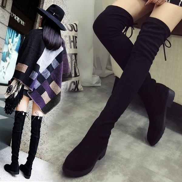 長靴女過膝靴 新品高筒平底襪靴長筒靴彈力靴秋冬季加絨靴子女