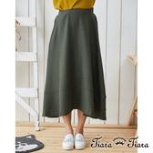 【Tiara Tiara】傘下擺單色棉麻半身裙(綠/咖)