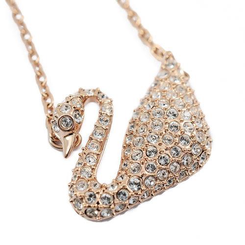 SWAROVSKI 施華洛世奇 天鵝造型水晶玫瑰金項鍊