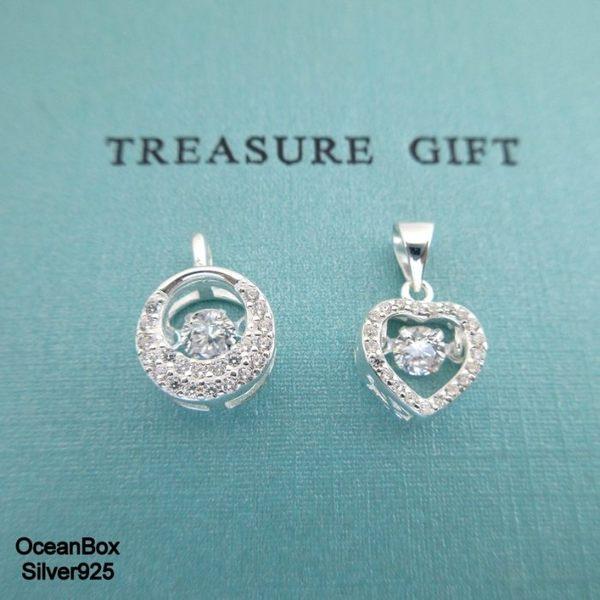 ☆§海洋盒子§☆閃亮鋯石愛心.圓形。純銀單墜《單墜價格300元》 銀飾