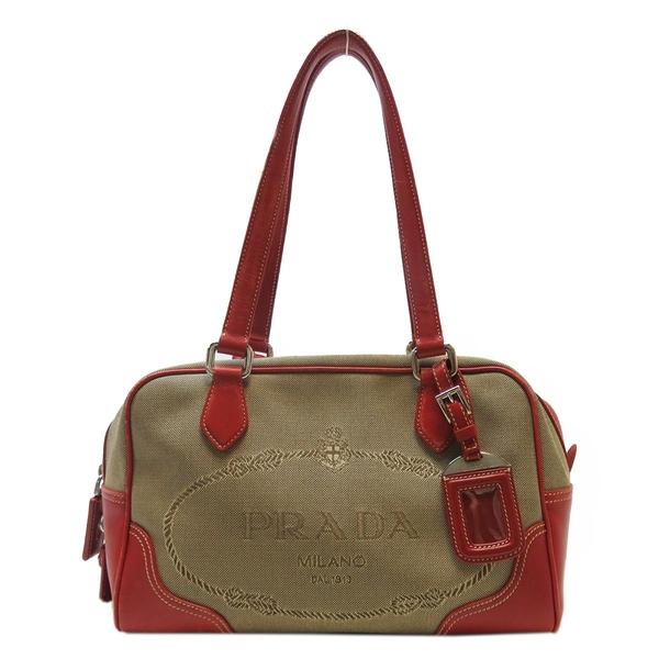 PRADA 普拉達 棕色帆布拚紅色牛皮肩背包 Logo Bowling Bag【二手名牌BRAND OFF】
