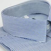 【金‧安德森】深藍色條紋窄版長袖襯衫
