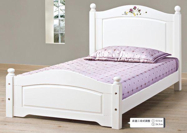 【森可家居】柏妮斯3.5尺白色彩繪檜木單人床 7JX68-1