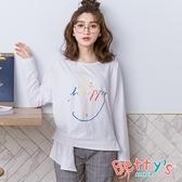betty's貝蒂思 be happy微笑印花微透膚T-shirt(白色)