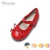 女童皮鞋真皮蝴蝶結軟底公主鞋豆豆鞋兒童鞋【淘嘟嘟】