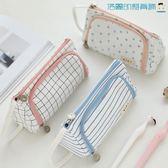 韓國簡約大容量帆布筆袋文具盒