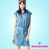 【SHOWCASE】率性後開腰牛仔短版襯衫洋裝(後開口特殊設計)