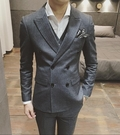 找到自己品牌 韓國男 修身版型細條紋 小...