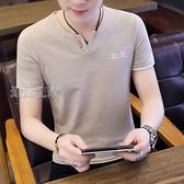 短袖上衣男夏季21新款男短袖T恤V領純棉修身潮流潮牌百搭男裝體恤桖上衣服 快速出貨