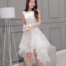 無袖洋裝 外貿歐根紗無袖伴娘連衣裙白色長裙蓬蓬裙仙修身收腰燕尾裙女