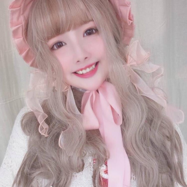 日繫少女假髮女長捲髮大波浪空氣瀏海蓬鬆逼真粉色整頂假髮【八折搶購】