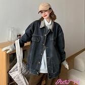 牛仔外套早秋季2021年新款設計感燈芯絨寬鬆休閒牛仔短外套女士時尚上衣潮 JUST M