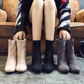 馬丁靴小短靴女秋冬新款韓版百搭瘦瘦靴粗跟中跟馬丁靴方頭短筒女靴聖誕交換禮物