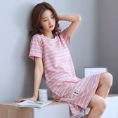 居家服 母女睡衣連身裙家居服夏可穿出門薄款日系韓版寬鬆性感少女【小天使】