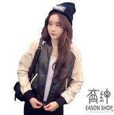 EASON SHOP GW2188   撞色拼接袖多口袋前拉鏈長袖皮革外套夾克防風女上衣服