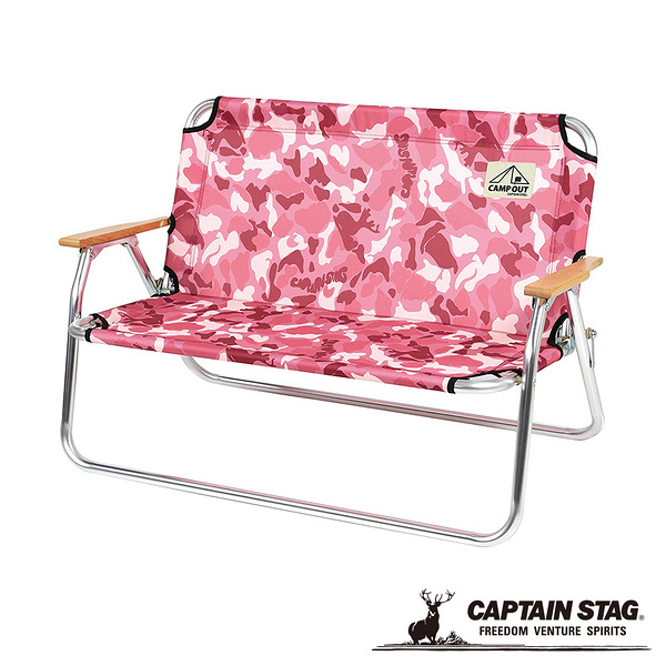 [CAPTAIN STAG] 鹿牌 雙人椅-粉紅迷彩 (UC-1658) 秀山莊戶外用品旗艦店