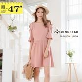 連身裙--浪漫氣質荷葉袖縮腰蝴蝶結裝飾露肩雪紡小洋裝(粉L-3L)-D550眼圈熊中大尺碼中大尺碼