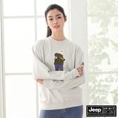 【JEEP】北極熊圖騰長袖T恤-灰白