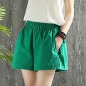 短褲女高腰鬆緊新款休閒短褲外穿女寬鬆百搭夏季綠色闊腿運動熱褲【快速出貨】
