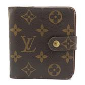 LOUIS VUITTON LV 路易威登 原花拉鍊零錢包扣式短夾 Compact Zippé M61667 【二手名牌BRAND OFF】