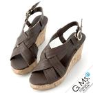 G.Ms. 交叉編織羊皮楔型涼鞋-咖啡色...
