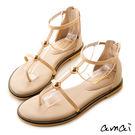 amai光澤珠飾金色鍊條夾腳涼鞋 奶茶