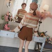 條紋針織衫女夏韓版寬鬆罩衫早秋裝2018新款薄款毛衣chic慵懶上衣 挪威森林
